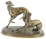 Pair of Whippets, Cold Cast Bronze Sculpture by Beauchamp Bronze
