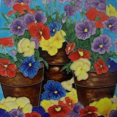 Pansies Decorative Ceramic Picture Tile by Blossoms & Bows 12