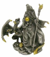 Pewter Dragon with Wizard