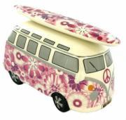 Pink Flowers Camper Van Money Box