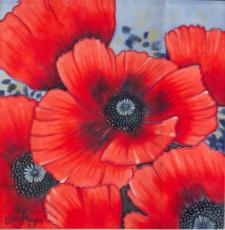 Poppies Ceramic Picture Tile by Hilary Mayes 12