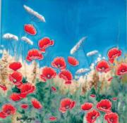 Poppy Meadow Ceramic Picture Tile by Hilary Mayes 12