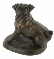 Pug Dog Cold Cast Bronze Sculpture by Harriet Glen