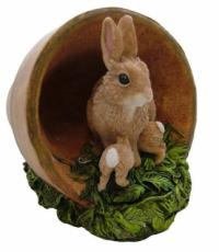 Rabbits in Flowerpot