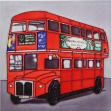 Red London Bus Ceramic Picture Tile 8