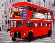 Red London Bus Ceramic Picture Tile by Kandy 11