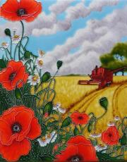 Red Poppy & Harvester Ceramic Picture Tile by Linda Garland 11