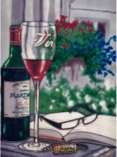 Red Wine & Book Decorative Ceramic Picture Tile by Blossoms & Bows 11