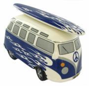 Retro Blue Camper Van Money Box