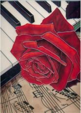 Rose & Piano Decorative Ceramic Picture Tile by Blossoms & Bows 11