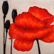 Rouge Red Poppy Ceramic Picture Tile by Louise Lipman 12