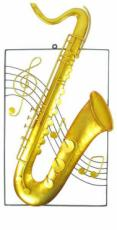 Saxophone Wall Art, Metal Decor x2