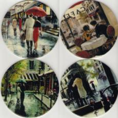 Set of 4 Brent Heighton Romantic Decal Coasters