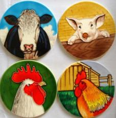 Set of 4 Farm Animal Ceramic Coasters