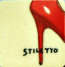 Set of 4 Red Stiletto Fridge Magnets