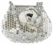 Silver Sequin Handbag Money Bank