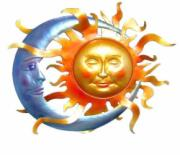 Sun and Moon Wall Art, Metal Decor x2