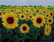 Sunflower Field Ceramic Picture Tile by Tiffany Budd 11