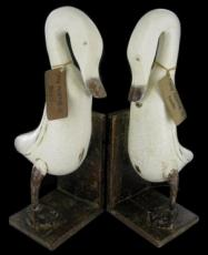 Vanilla Wooden Duck Bookends