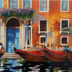 Venetian Gondolas 1 Decorative Ceramic Picture Tile By Marcelo Silvia 12