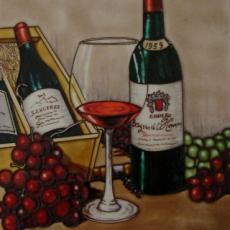 Vintage Wine  Decorative Ceramic Picture Tile by Blossoms & Bows 12