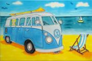 Volkswagen (VW) Camper At Seaside Ceramic Picture Tile by Tiffany Budd 8