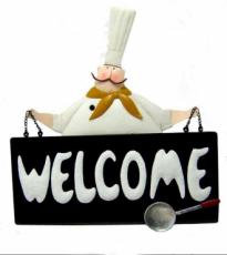 Welcome Chef Wall Art, Metal Decor x2