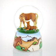 Tile Base Mare & Foal Waterglobe